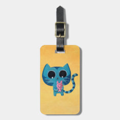 Cute Kitty Cat And Pig Bag Tag at Zazzle
