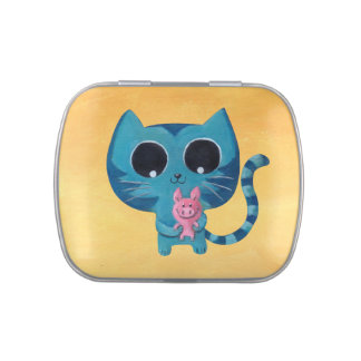 Cute Kitty Cat and Pig Jelly Belly Candy Tin