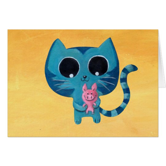 Cute Kitty Cat and Pig Card