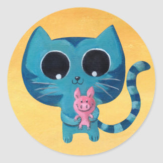 Cute Kitty Cat and Pig Classic Round Sticker