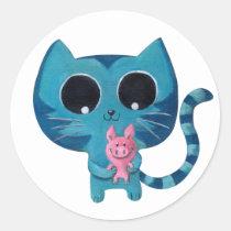 artsprojekt, cat, kitten, kitty, pig, cute, kawaii, kawaii cat, cute cat, cute kitten, kawaii kitten, illustration cat, blue, pink, cat gift, cat present, kawaii gift, kawaii present, illustration, kid, kids, children, nursery, pig gift, pig present, good luck gift, good luck present, children illustration, Sticker with custom graphic design
