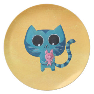 Cute Kitty Cat and Pig Dinner Plate