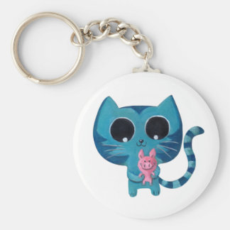 Cute Kitty Cat and Pig Basic Round Button Keychain