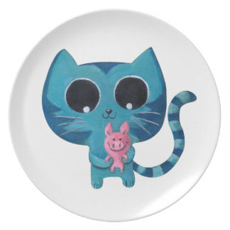 Cute Kitty Cat and Pig Party Plates