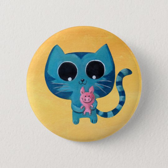 Cute Kitty Cat and Pig Pinback Button