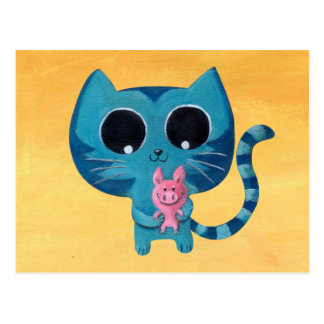 Cute Kitty Cat and Pig Postcard