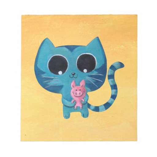 Cute Kitty Cat and Pig Scratch Pad