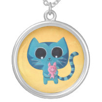 Cute Kitty Cat and Pig Silver Plated Necklace