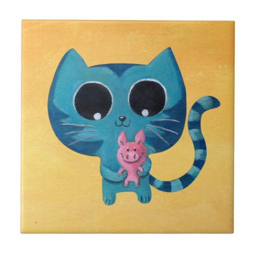 Cute Kitty Cat and Pig Small Square Tile