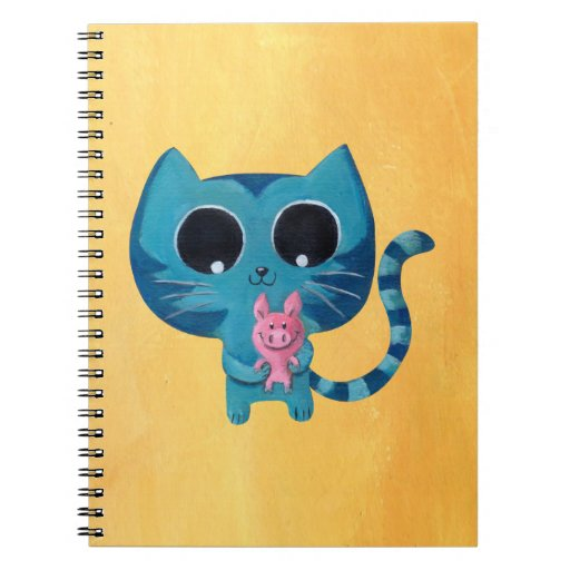 Cute Kitty Cat and Pig Spiral Notebook