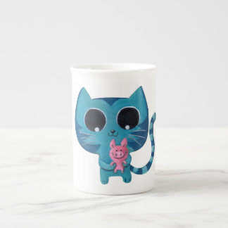 Cute Kitty Cat and Pig Tea Cup