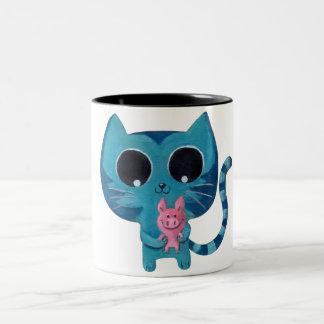 Cute Kitty Cat and Pig Two-Tone Coffee Mug