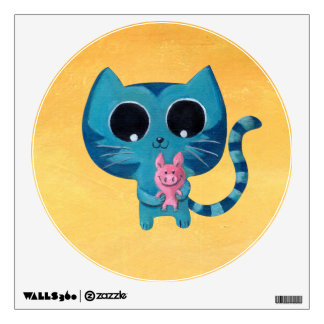 Cute Kitty Cat and Pig Wall Sticker