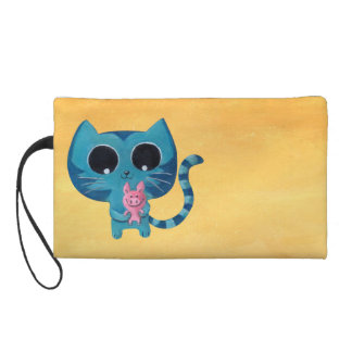 Cute Kitty Cat and Pig Wristlet