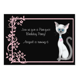 Cute Kitty Cat and Pink Flowers Birthday Card