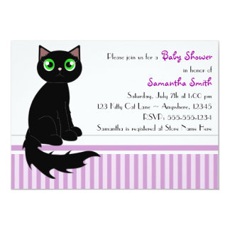 Cute Kitty Cat Baby Shower Invitation - Purple