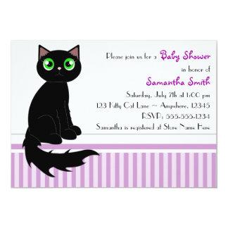 Cute Kitty Cat Baby Shower Invitation - Purple