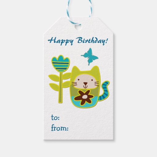 Cute Kitty Cat Birthday Gift Tags