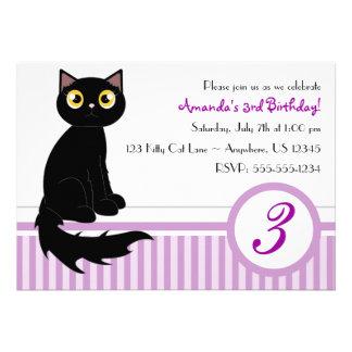 Cute Kitty Cat Birthday Party Invitation - Purple