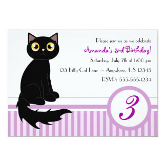 Cute Kitty Cat Birthday Party Invitation - Purple