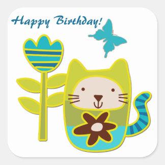 Cute Kitty Cat Birthday Square Sticker