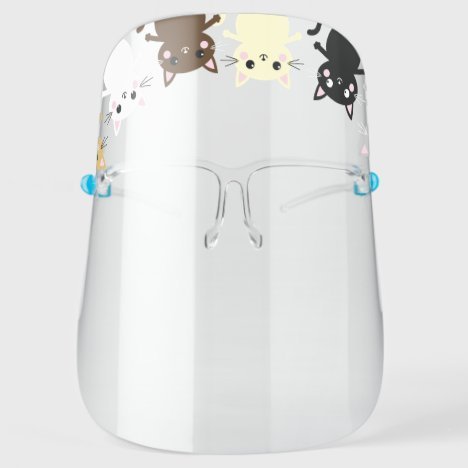 Cute Kitty Cat Cartoons Face Shield