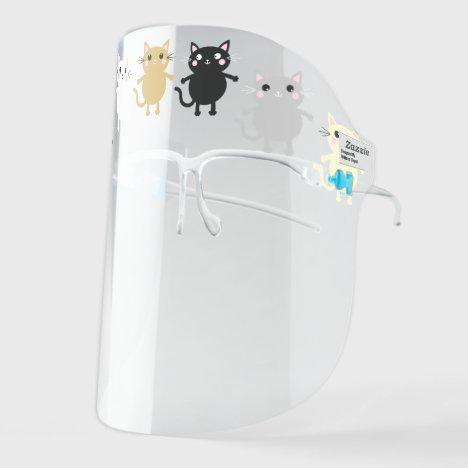 Cute Kitty Cat Cartoons Face Shield
