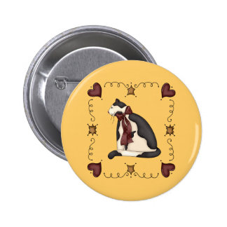 Cute Kitty Cat Country Gift Button