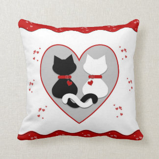 Cute Kitty Cat Couple Red Hearts Pillow