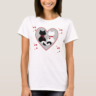 Cute Kitty Cat Couple Red Hearts Valentine T Shirt