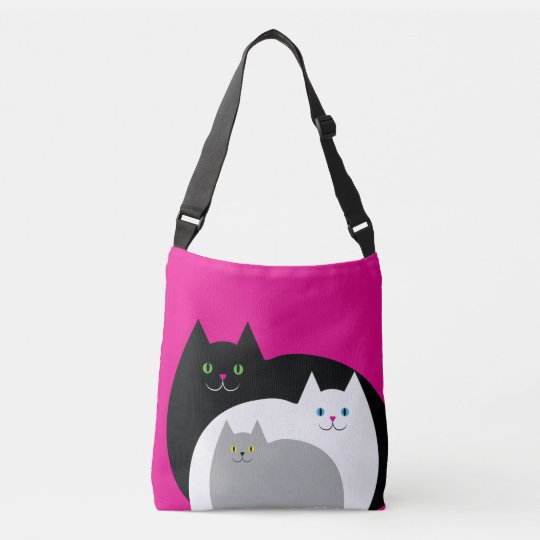 Cute Kitty Cat Family White Pink and Black Crossbody Bag  ee8a078f4f74a