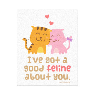 Cute Kitty Cat Feline Love Confession Pun Humor Gallery Wrapped Canvas