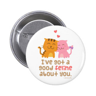Cute Kitty Cat Feline Love Confession Pun Humor Pinback Button