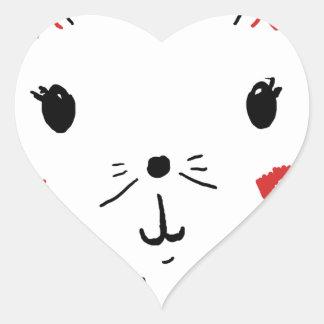 Cute Kitty Cat Heart Sticker