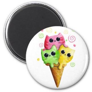 Cute Kitty Cat Ice Cream 2 Inch Round Magnet