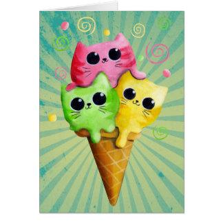 Cute Kitty Cat Ice Cream Card