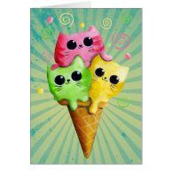 Cute Kitty Cat Ice Cream Cards