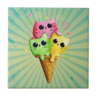 Cute Kitty Cat Ice Cream Ceramic Tiles