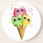 Cute Kitty Cat Ice Cream Drink Coaster