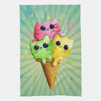 Cute Kitty Cat Ice Cream Hand Towel