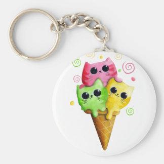 Cute Kitty Cat Ice Cream Key Chains