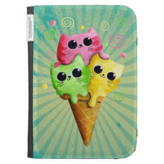 Cute Kitty Cat Ice Cream Kindle 3G Cover