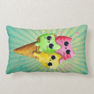 Cute Kitty Cat Ice Cream Lumbar Pillow