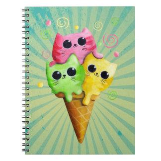 Cute Kitty Cat Ice Cream Note Book