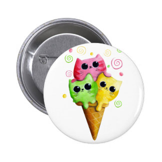 Cute Kitty Cat Ice Cream Pinback Button