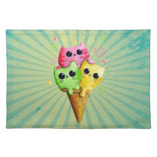 Cute Kitty Cat Ice Cream Place Mat