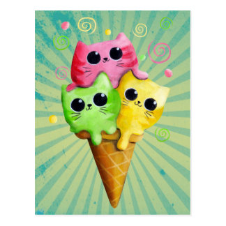 Cute Kitty Cat Ice Cream Postcard