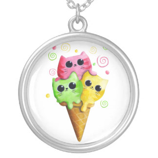 Cute Kitty Cat Ice Cream Round Pendant Necklace