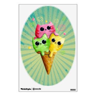 Cute Kitty Cat Ice Cream Wall Sticker