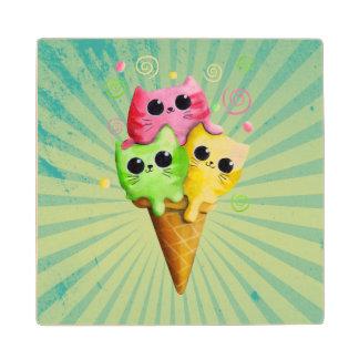 Cute Kitty Cat Ice Cream Wood Coaster